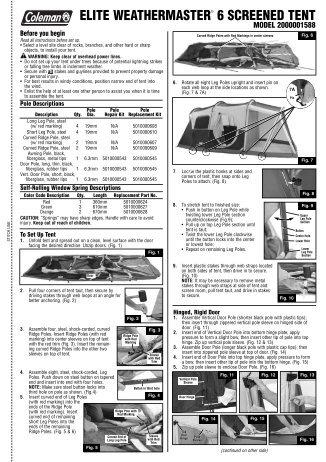 coleman evanston 6 screened tent instructions